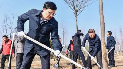 今天,市长陈之常一行来到大运河畔义务植树!